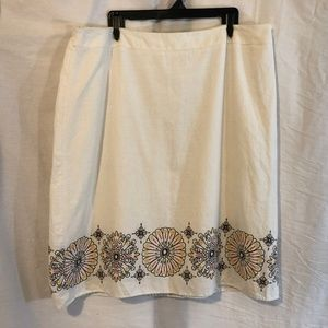 Cato Plus Size 26 28 Skirt White Floral Linen 531